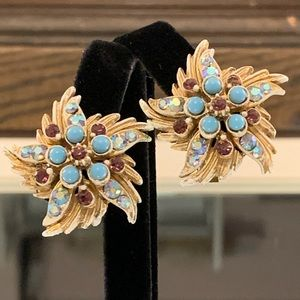 VTG_Florenza_Aurora Borealis_1940s_Star_Earrings